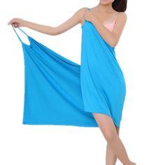 Only US$11.99 , shop Honana BX-376 Summer Beach Soft Ice Silk Sexy Hot Able Wear Deep V Spa BathRobe Bath Towel Women Skirt  at Banggood.com. Buy fashion Bathrobes online.