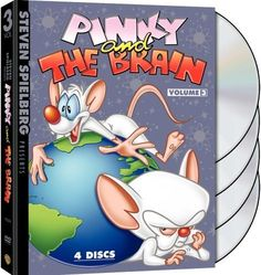 With Maurice LaMarche, Rob Paulsen, Tress MacNeille, Frank Welker. A genius mouse and his stupid sidekick try to conquer the world each night.