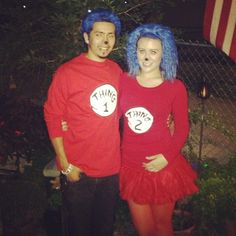 Thing 1 and thing 2 #couplecostume #halloween #cuteness #lovehim #dr.Suess
