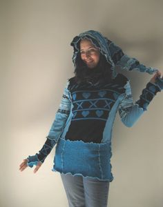 XOXO Elfin Upcycled Hip Hoodie Sweater by bodyhoops on Etsy