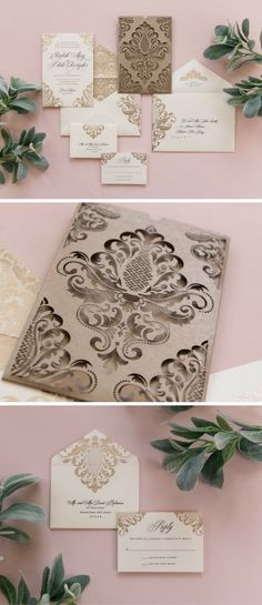 A platinum ink wedding invitation tucked away into an delicate die cut jacket, the Blake is an invitation experience that your guests will never forget. An elegant damask pattern motif brings this entire suite together, through the invitation, jacket, envelope, and any other elements you may choose to add!