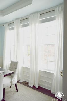 The Favorite White Budget-Friendly Curtains - IKEA Ritva Panels - The look of wh. The Favorite White Budget-Friendly Curtains - IKEA Ritva Panels - The look of white linen curtains without breaking the bank Dining Room Curtains, Dining Room Windows, Drapes Curtains, Curtain Panels, Large Window Curtains, Wall Of Windows, Curtains Without Blinds, Window Treatments Living Room Curtains, Large Window Treatments