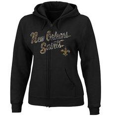 New Orleans Saints Ladies Football Classic Full Zip Hoodie - Black