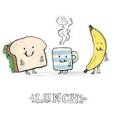 #lunch #doodle #food #illustration #childrensillustration #banana #tea #sandwich #meal