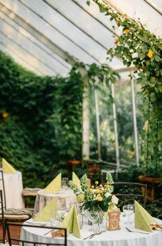 Green greenhouse wedding reception decor | WhiteSmoke Studio
