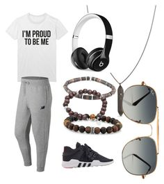 """""""Szymon"""" by noches on Polyvore featuring New Balance, adidas, Room101, Tateossian, Tom Wood, Beats by Dr. Dre, Ray-Ban, men's fashion and menswear"""
