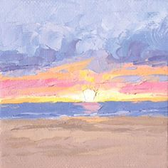 """""""Sunset Seven"""", 4"""" x 4"""" palette knife oil on canvas panel that comes with a mini easel for easy display. $32"""