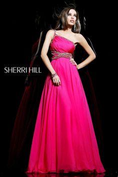 Asymmetrical Neckline Long Gown by Sherri Hill