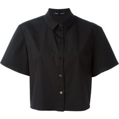 Proenza Schouler Cropped Shirt (710 CAD) ❤ liked on Polyvore featuring tops, black, short crop tops, short shirts, crop shirts, crop top and shirts & tops