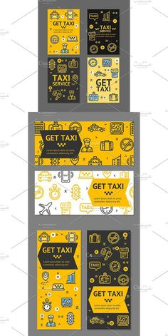 Taxi Line Service Flyer Banner Set. Brochure Infographic