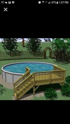 Put a gate at the bottom of the stairs to prevent young kids getting in unsuperv… – Leah Daecher Above Ground Pool Landscaping, Above Ground Pool Decks, Backyard Pool Landscaping, Above Ground Swimming Pools, Small Backyard Pools, In Ground Pools, Outdoor Pool, Landscaping Ideas, Backyard Ideas
