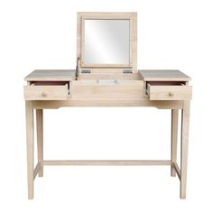 Andalusia Solid Wood Vanity with Mirror Mirrored Vanity Desk, Wood Vanity, Vanity With Mirror, Small Vanity, White Table Top, Wood Desk, Concept Home, Classic Furniture, Solid Wood