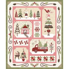 Sew Merry Burgundy and Blush Light BOM Quilt Kit by Arlene Stamper & Melissa Harris - Maywood Studio History Of Quilting, Christmas Applique, Christmas Quilting, Winter Quilts, Block Of The Month, Quilt Sizes, Mini Quilts, Quilt Blocks, Fabric Crafts