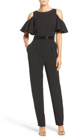09452079ce4 Eliza J Cold Shoulder Crepe Jumpsuit (Regular   Petite)