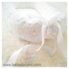 Mille Teal or Mille Pistachio/ Lace / Satin ribbon Bow/ side pocket/Babynest - baby nest