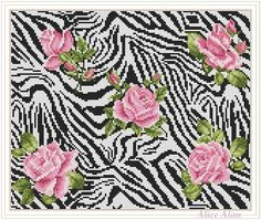 Cross Stitch Pattern Tender roses on texture of Zebra in eclectic style Counted Cross Stitch Pattern / Instant Download Epattern PDF File