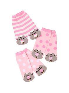 Pusheen Pink & Grey Dessert No-Show Socks 3 Pair,