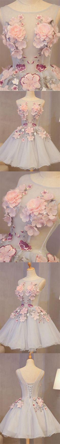 Chic Homecoming Dress Hand-Made Flower Organza Short Prom Dress Party Dress JK310