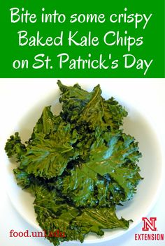 Bake this crispy Kale Chips recipe to enjoy a bit o' green on St. Patrick's Day