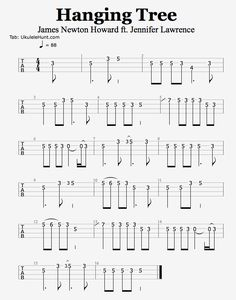 I'm working up a version of Hanging Tree (from Mockingjay) but the melody alone is great. So here's a quick tab of that. And here's how that sounds. Source: ukulelehunt.com