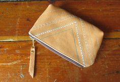 Embroidered Leather Zipper Pouch