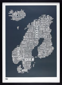 Nordic Europe Type Map decorative screen print by boldandnoble