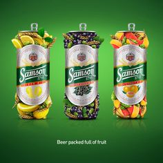 TASKS: Create stunning but simple visuals for great new taste of Samson Fruit Mix Beer. Show product as pure and natural beer with no preservatives.