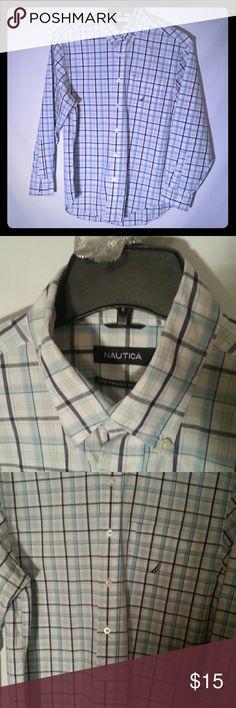 Nautica mens shirt Plaid blue and white nautica button down. 80 s two ply cotton Nautica Shirts Casual Button Down Shirts