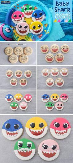 Baby Shark Decorated Cookies Tutorial - Helen Home Shark Cupcakes, Shark Cookies, Shark Cake, Shark Shark, Shark Logo, Cookies For Kids, Baby Cookies, Cute Cookies, Cookies Et Biscuits