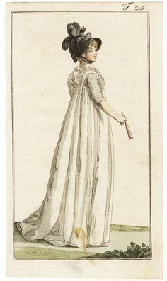 Original vintage published in 1799 Journal des Luxus und der Moden White Dress Black Feathers Hat, Fan, Hand-colored engraving — , Engravings Regency Dress, Regency Era, Historical Costume, Historical Clothing, Female Clothing, Baroque, Jean Délavé, 18th Century Fashion, 1800s Fashion