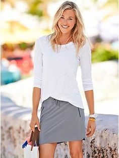 Stretch-In Skort - Featherweight Stretch™ in a skirt that takes its design lines from your favorite scallop-hem running shorts.