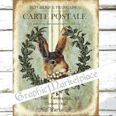 Vintage Bunny Rabbit Lapin Large Image by GraphicMarketplace
