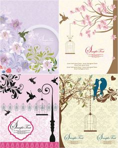 Free birds and flowers vector 10