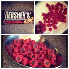 raspberries stuffed with Hershey kisses