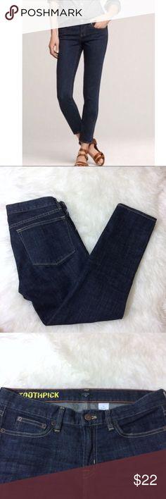 "J. Crew Toothpick Dark Wash Skinny Ankle Jeans 28 J. Crew Toothpick Dark Wash Skinny Ankle Jeans 28. 98% Cotton 2% spandex. Measurements: Waist- 16"" across, rise- 8"", inseam- 25.5"". J. Crew Factory Jeans Skinny"