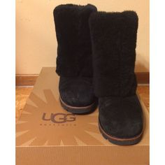 UGG Maylin Boots Fluffy black UGG Maylin boots. Worn a few times but they are in great condition-only a few scuffs in the front but nothing crazy! Keeps your legs and feet super warm and cute for the winter!❄️ **Selling for $185 on ebay!!** Comes with original box✨ open to offers but no trades :) UGG Shoes Winter & Rain Boots