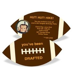boy birthday parties Pear Tree invitations are designed to stand out from the rest! Personalize the Football Draft Pick With Photo Kids Birthday Invitations with your choice of te Football Theme Birthday, Sports Birthday, Birthday Party Games, Birthday Ideas, 10th Birthday, Fall Birthday, Sports Party, Viking Birthday, Kids Football Parties