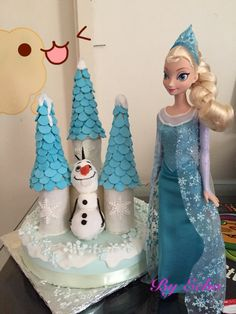 Olaf and Elsa frozen theme birthday cake