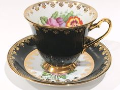Pansy Tea Cup and Saucer by Clarence Tea Set by AprilsLuxuries