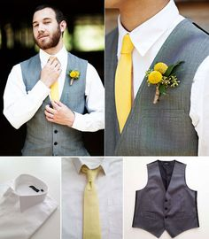 Groomsmen going gray + yellow for your wedding day? The Grunion Run can help you get the look for less: — Classic White Shirt, Pale Yellow Cotton Tie, Gray Vest (top photos from Hannah + Marc's wedding on One Stylish Bride, photography by Jamie Clayton Photography) (bottom photos all from The Grunion Run Groomsmen Shop)