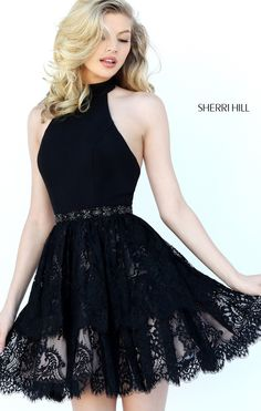 Lace halter black sherri hill 50634 short homecoming dress h 2016 Homecoming Dresses, Hoco Dresses, Trendy Dresses, Dance Dresses, Cute Dresses, Beautiful Dresses, Formal Dresses, Dress Prom, Party Dress
