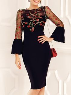 Shop Floral Embroidery Mesh Bell Sleeve Bodycon Dress right now, get great deals at Voguelily Bodycon Dress With Sleeves, Dresses With Sleeves, Dress Outfits, Fashion Dresses, Embroidery Dress, Floral Embroidery, Embroidered Dresses, Bordado Floral, Dress Patterns