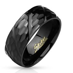 Black IP Honeycomb Diagonal Groove 316L Stainless Steel Men's Ring