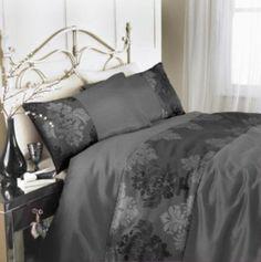 Silver Black Grey King Duvet Set Damask Design Rococo Faux Silk