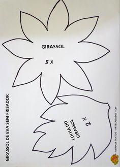 PATRONES O MOLDES DE LA FLORES DE GIRASOLE SPARA ELABORAR EN FOAMI    Flores de…