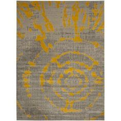 Safavieh Porcello Christa Gray Yellow Rectangular Indoor Machine Made Distressed Area Rug Common