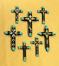 Straw Overlay and Turquoise Crosses