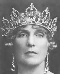 "Here's a close up of the original Ansorena aquamarine tiara before Bulgari redid it.  Queen Victoria Eugenia (""Ena"") of Spain.  See earlier pin for hand coloured photograph."