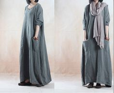 Linen dress Loose fitting long dress maxi dress by JulyFlower