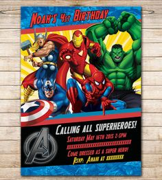 80% OFF SALE- Comic Marvel Birthday Invitation, party Avengers Marvel invitation printable.